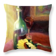Wine And Sunflower Throw Pillow