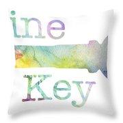 Wine Key Watercolor Throw Pillow