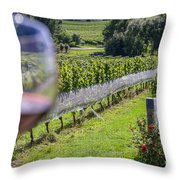 Wineglass In Vineyard Throw Pillow
