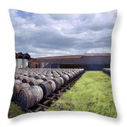 Winery Wine Barrels Outside Clouds Panorama Throw Pillow