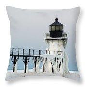 Winter At St Joseph's Light Throw Pillow