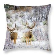 Winter Bucks Throw Pillow