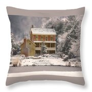 Winter Farm House Throw Pillow