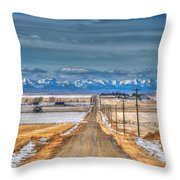 Winter Farmland Throw Pillow