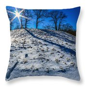 Winter Scinery In The Mountains With Bllue Sky And Sunshine Throw Pillow