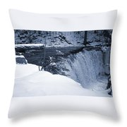 Winter Waterfall Snow Throw Pillow