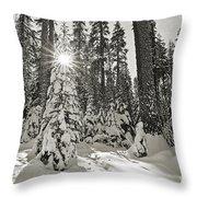 Winter Wonderland - Badger Pass In Yosemite National Park Throw Pillow