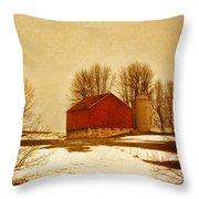 Wisconsin Barn In Winter Throw Pillow