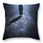 Woman Alone Outside In Fog At Night Throw Pillow