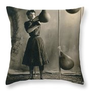 Woman Boxing Workout Throw Pillow