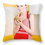 Woman Drinking Coconut Milk In Kitchen Throw Pillow