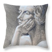 Woman Head Study Throw Pillow