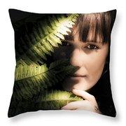 Woman Hiding Behind Fern Leaf Throw Pillow