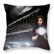 Woman Holding Clock Throw Pillow