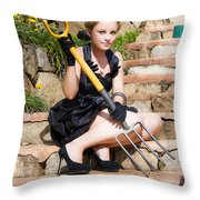 Woman Holding Pitchfork Throw Pillow