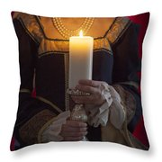 Woman In A Blue Medieval Dress Holding A Candle Throw Pillow
