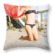 Woman In Bikini Jumping Throw Pillow