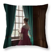 Woman In Georgian Period Dress Reading A Letter By The Window Throw Pillow