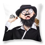 Woman In Mens Clothes With Service Bell Throw Pillow