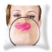 Woman Kissing Magnifying Glass Throw Pillow
