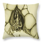 Woman Leaving Cave Throw Pillow