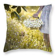 Woman Picking Flowers In A Wild Flower Meadow Throw Pillow