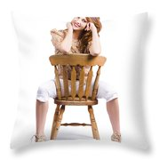 Woman Posing On Chair Throw Pillow