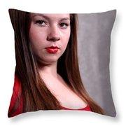 Woman Red Dress Throw Pillow