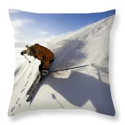 Woman Skiing At Sunset, Chile Throw Pillow