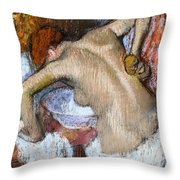 Woman Sponging Her Back Throw Pillow