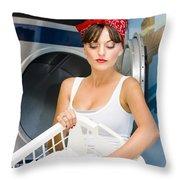 Woman Washing Clothes Throw Pillow