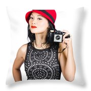 Woman With An Old Camera Throw Pillow