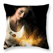 Woman With Angle Grinder Spraying Sparks Throw Pillow