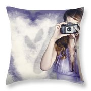 Woman With Camera. Love In A Still Frame Capture Throw Pillow