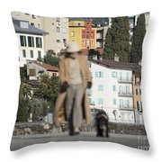 Woman With Her Dog Throw Pillow