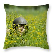 Woman With Military Helmet Throw Pillow
