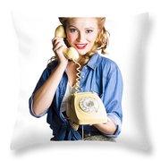 Woman With Retro Telephone Throw Pillow