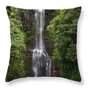 Woman With Umbrella At Wailua Falls Throw Pillow