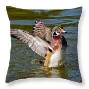 Wood Duck Drake Flapping Wings Throw Pillow