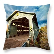 Wooden Covered Bridge  Throw Pillow