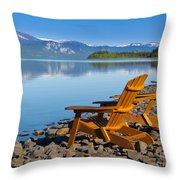 Wooden Deckchairs Overlooking Scenic Lake Laberge Throw Pillow