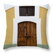 Wooden Door At El Morro Historical Site Throw Pillow