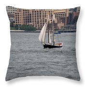 Wooden Ship On The Water Throw Pillow