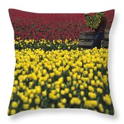 Worker Carrying Tulips Throw Pillow
