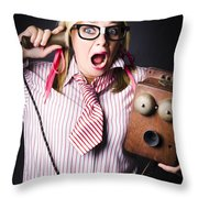 Worker In Shock During Bad News Communication Throw Pillow