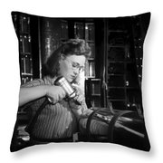 Working With The Hand Drill 1942 Throw Pillow
