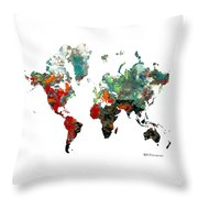 World Atlas  Throw Pillow