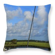 Wrightsville Beach Tidal Marsh Throw Pillow