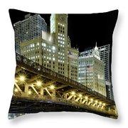 Wrigley Building At Night Throw Pillow