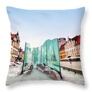 Wroclaw Poland The Market Square With The Famous Fountain Throw Pillow